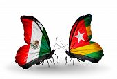 Two Butterflies With Flags On Wings As Symbol Of Relations Mexico And  Togo
