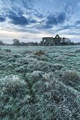 Beautiful Sunrise Landscape Of Priory Ruins In Countryside Location