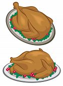 stock photo of gobbler  - Roasted Turkey or chicken dinner on a plate art and illustration - JPG