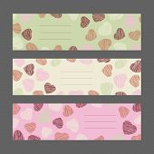 Set of Valentine's Day horizontal banners. Pink hearts ornament. Vector Illustration.
