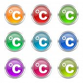 celsius icons set temperature unit sign
