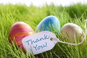Happy Easter Background With Colorful Eggs And Label With Text Thank You