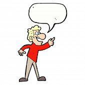 cartoon man pointing and laughing with speech bubble