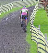 Cyclist Compete In Cycle Race Of Cyclocross
