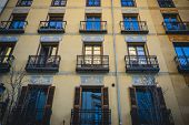 classic balconies Madrid, oldest street in the capital of Spain, its architecture and art