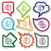 Globe set. Paper stickers. Vector illustration.