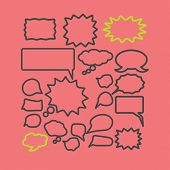 chat, speech icons, signs, silhouettes set, vector