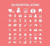 50 hospital, doctor, medical icons, signs, silhouettes set, vector