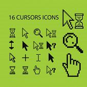 16 pixel black cursors, interface, pointer, icons, signs, illustrations, silhouettes set, vector