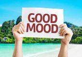 Good Mood card with a beach on background