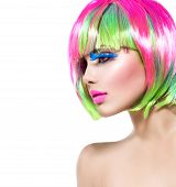 picture of hair cutting  - Beauty Fashion Model Girl with Colorful Dyed Hair - JPG