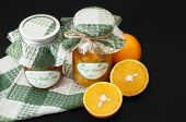 Home Made Orange And Peach Marmalade On Black Background