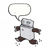cartoon running robot with speech bubble