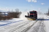 pic of plow  - Plow clearing a rural road of snow outside Buffalo New York - JPG