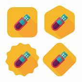 Usb Flash Memory Flat Icon With Long Shadow,eps10