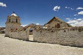 Beautiful Parinacota village church exterior, circa Putre, Chile.
