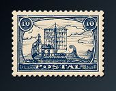 Postage Stamp With Ship.
