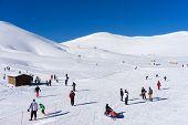 Visitors Enjoy The Snow Skiing On The Mountain Of Falakro, Greece. The Ski Resort Of Falakro Mountai