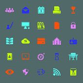 Business Management Color Icons On Gray Background