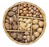 a variety of nuts (walnut, pecan, hazelnut, Brazilian and almond)  in a wicker basket isolated on white
