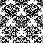 foto of dainty  - Classic damask seamless pattern with dainty retro black flowers on white background - JPG