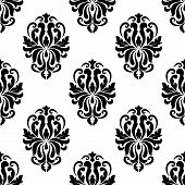 foto of dainty  - Classic black and white floral damask seamless pattern with dainty flourishes - JPG