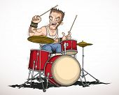 foto of drums  - Illustration rock musician drummer famously plays the drums - JPG