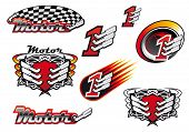 pic of motocross  - Racing and motocross emblems or symbols with checkered flags - JPG