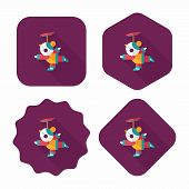 Chinese New Year Acrobatics Girl Flat Icon With Long Shadow,eps10