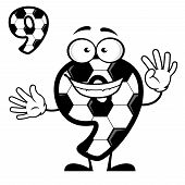 Cartoon number 9 with soccer pattern
