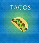 Food Menu Tacos With Blue & Golden Background