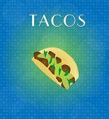 Food Menu Tacos With Blue & Golden Background