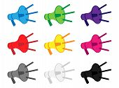 Megaphone Icons In Different Colours With Sound Lines
