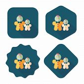 picture of gingerbread man  - Gingerbread Man Flat Icon With Long Shadow - JPG