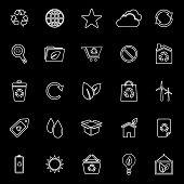 Ecology Line Icons On Black Background