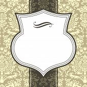 Shield Frame on Damask Background