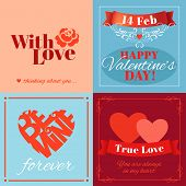 Valentine�¢�?�?s Day cards with heart shape and typography. Vector