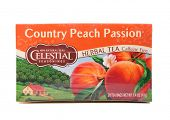DEPEW, OK, USA - January 11th, 2015: Box of Celestial Seasonings Country Peach Passion tea. It is a brand of The Hain Celestial Group, founded in 1993 with headquarters in Lake Success, New York, USA