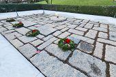 ARLINGTON, VA - DECEMBER 26, 2014: President John Fitzgerald Kennedy Gravesite in Arlington National Cemetery.
