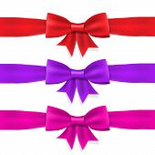 Set red violet pink satin ribbon bow and