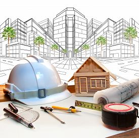 picture of land development  - architect working table and two point perspective modern building plan use for construction engineering and real estate land development industry - JPG