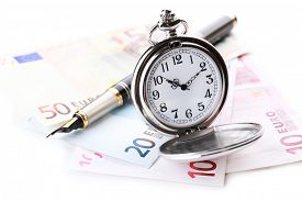 foto of time-saving  - Silver pocket clock and money isolated on white - JPG