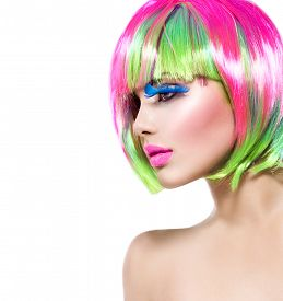 picture of hair dye  - Beauty Fashion Model Girl with Colorful Dyed Hair - JPG