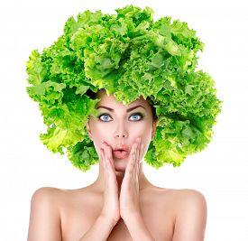 stock photo of slim model  - Surprised model girl with Lettuce hair style - JPG