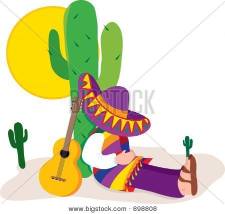 Picture or Photo of Colorful man with sombrero sleeping by a cactus