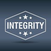 stock photo of integrity  - integrity hexagonal white vintage retro style label - JPG