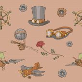 stock photo of steampunk  - Seamless pattern Steampunk  with steampunk top hat and brass goggles - JPG