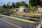 picture of wastewater  - Aerated activated sludge tank at a wastewater treatment plant - JPG