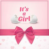 stock photo of ribbon bow  - Its a girl - JPG