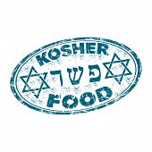 stock photo of rabbi  - Blue grunge rubber oval stamp with the star of David and the text kosher food written inside the stamp - JPG